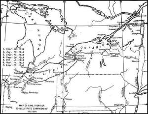 Source: Map of Lake Frontier to Illustrate Campaigns of 1812-1814  From Sea Power in Its Relations to the War of 1812 (Vol. I, p. 371) by A.T. Mahan (Boston: Little, Brown, 1905).