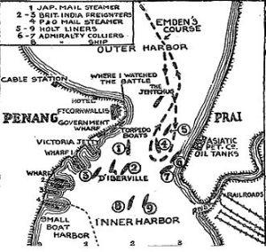 The Penang Raid. Source: http://en.wikipedia.org/wiki/SMS_Emden_(1908)#mediaviewer/File:When_the_Emden_Raided_Penang,_Map,_fromThe_New_York_Times,_Dec.jpg