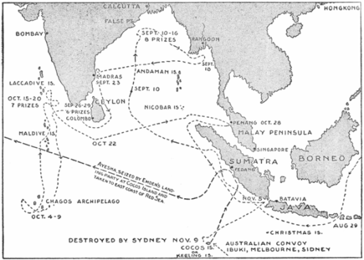 Source: http://en.wikipedia.org/wiki/SMS_Emden_(1908)#mediaviewer/File:Cruise_of_the_Emden_1914_Map.png