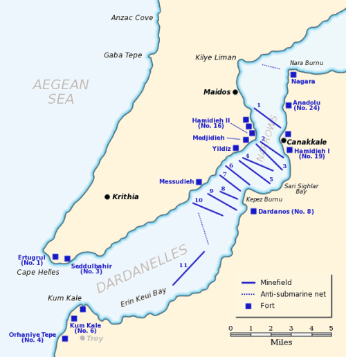 "Source: ""Dardanelles defences 1915"" by Gsl - Own work. Licensed under Public Domain via Wikimedia Commons - http://commons.wikimedia.org/wiki/File:Dardanelles_defences_1915.png#/media/File:Dardanelles_defences_1915.png"