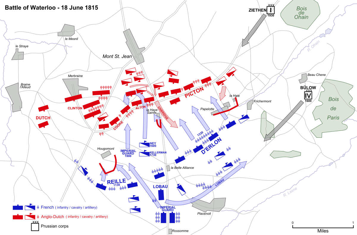 """Source: """"Battle of Waterloo"""" by Ipankonin - Vectorized from raster image. Licensed under Public Domain via Wikimedia Commons - https://commons.wikimedia.org/wiki/File:Battle_of_Waterloo.svg#/media/File:Battle_of_Waterloo.svg"""