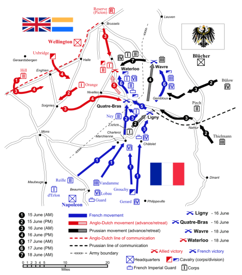 "Source: ""Waterloo Campaign map-alt3"" by Ipankonin - Self-made. Vectorized from raster image Flags from. Licensed under CC BY-SA 3.0 via Wikimedia Commons - https://commons.wikimedia.org/wiki/File:Waterloo_Campaign_map-alt3.svg#/media/File:Waterloo_Campaign_map-alt3.svg"